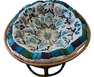 Cotton Craft Papasan Peacock Blue Overstuffed Chair Cushion