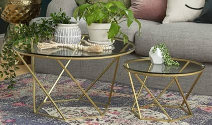 New Geometric Millie Glass Nesting Coffee Tables