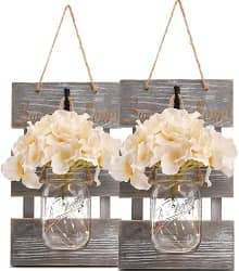 Rustic Grey Mason Jar Sconces